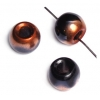 Glass Crowbead 12mm/5mm Hole Copper/Jet